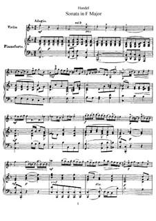 Соната для скрипки и клавесина фа мажор, HWV 370 Op.1 No.12: Версия для скрипки и фортепиано by Георг Фридрих Гендель