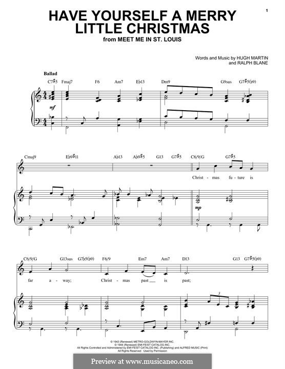 Piano-Vocal version: For voice and piano (jazz version) by Hugh Martin, Ralph Blane