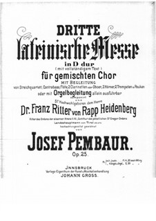 Латинская месса No.3 ре мажор, Op.25: Партитура by Иосиф Пембаур