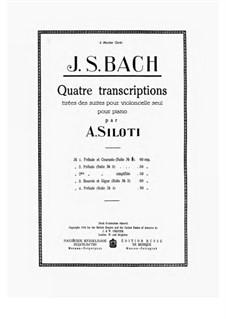 Сюита для виолончели No.1 соль мажор, BWV 1007: Prelude and Courante, for piano by Иоганн Себастьян Бах