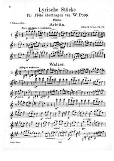 Лирические пьесы, Op.12: No.1-8, для флейты и фортепиано – Партия флейты by Эдвард Григ
