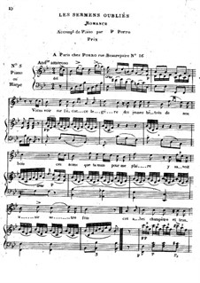 Les sermens oubliés for Voice and Piano (or Harp): Les sermens oubliés for Voice and Piano (or Harp) by Pierre Jean Porro