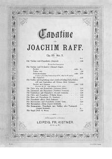 Шесть пьес для скрипки и фортепиано, Op.85: No.3 Каватина – партитура, сольная партия (виолончель) by Иоахим Рафф