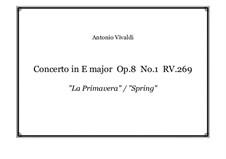 Концерт для скрипки с оркестром No.1 ми мажор 'Весна', RV 269: Аранжировка для фортепиано by Антонио Вивальди