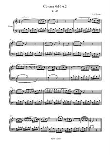 Соната для фортепиано No.16 до мажор, K.545: Часть II by Вольфганг Амадей Моцарт