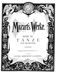 Двенадцать менуэтов для оркестра, K.568: Партитура by Вольфганг Амадей Моцарт