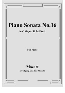 Соната для фортепиано No.16 до мажор, K.545: Часть I by Вольфганг Амадей Моцарт