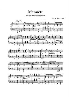 Симфония No.39 ми-бемоль мажор, K.543: Менуэт, для фортепиано by Вольфганг Амадей Моцарт