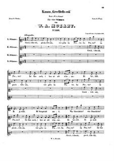 Grechtelt's enk, K.556: Grechtelt's enk by Вольфганг Амадей Моцарт