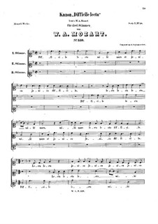 Difficile lectu mihi Mars, K.559: Difficile lectu mihi Mars by Вольфганг Амадей Моцарт