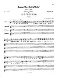 O du eselhafter Martin. Canon for Four Voices, K.560: O du eselhafter Martin. Canon for Four Voices by Вольфганг Амадей Моцарт
