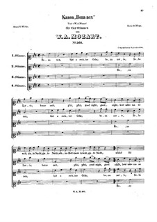 Bona nox. Canon for Four Voices, K.561: Vocal score by Вольфганг Амадей Моцарт