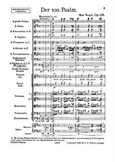 Псалом No.100 для хора и оркестра, Op.106: Партитура by Макс Регер