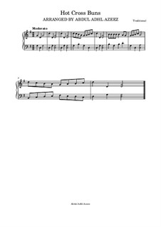 Hot Cross Buns: For piano easy beginner by folklore