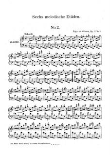 Шесть мелодических этюдов, Op.17: Этюд No.2 by Edgar de Glimes