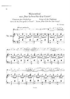 Песня сироты: Для виолончели и фортепиано by Михаил Глинка