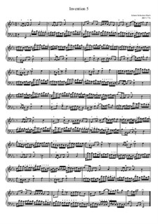No.5 ми-бемоль мажор, BWV 776: For piano by Иоганн Себастьян Бах