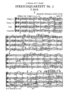 Струнный квартет No.2 фа мажор, Op.10: Струнный квартет No.2 фа мажор by Александр Глазунов