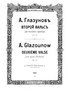Концертный вальс для оркестра No.2, Op.51: Партитура by Александр Глазунов