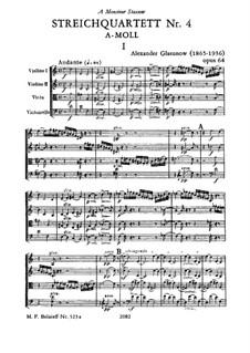 Струнный квартет No.4 ля минор, Op.64: Струнный квартет No.4 ля минор by Александр Глазунов