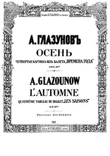 Времена года, Op.67: Осень. Партитура by Александр Глазунов