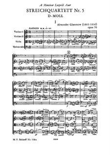 Струнный квартет No.5 ре минор, Op.70: Струнный квартет No.5 ре минор by Александр Глазунов