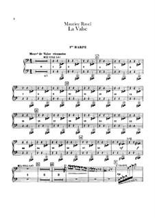Вальс. Хореографическая поэма для оркестра, M.72: Партии первой и второй арф by Морис Равель