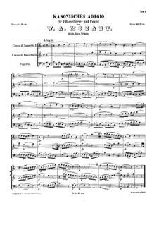 Каноническое адажио для двух бассетгорнов и фагота фа мажор, K.410: Партитура by Вольфганг Амадей Моцарт