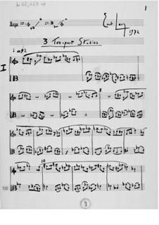 Три этюда для двух инструментов: Партитура by Эрнст Леви