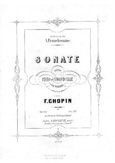 Соната для виолончели и фортепиано соль минор, Op.65: Партитура, сольная партия by Фредерик Шопен