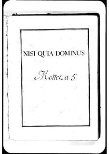 Nisi quia Dominus: Nisi quia Dominus by Мишель Ришар де Лаланд