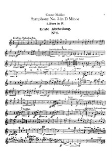 Симфония No.3 ре минор: Партии валторн by Густав Малер