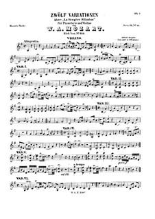 Вариации 'La bergere Celimene' для скрипки и фортепиано: Сольная партия by Вольфганг Амадей Моцарт