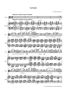 Три песни, Op.6: No.1 Aubade for viola and piano by Габриэль Форе
