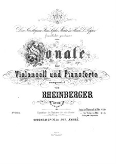 Соната для виолончели и фортепиано, Op.92: Партитура by Йозеф Габриэль Райнбергер