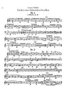 Песни странствующего подмастерья: Для голоса с оркестром – Партии валторн in F by Густав Малер