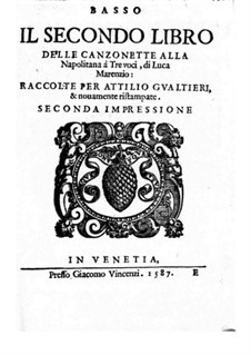 Canzonette alla Napolitana: Book II – Bass Part by Лука Маренцио