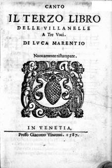Вилланеллы: Тетрадь III – Партия сопрано by Лука Маренцио