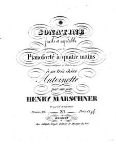 Сонатина для фортепиано в четыре руки, Op.91: Сонатина для фортепиано в четыре руки by Генрих Маршнер