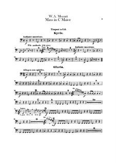 Коронационная месса No.15 до мажор, K.317: Партия литавр by Вольфганг Амадей Моцарт