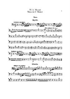 Коронационная месса No.15 до мажор, K.317: Партия бассо континуо by Вольфганг Амадей Моцарт