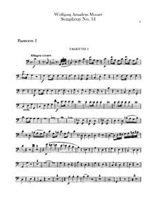 Симфония No.34 до мажор, K.338: Партии фаготов by Вольфганг Амадей Моцарт