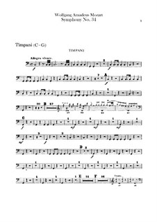 Симфония No.34 до мажор, K.338: Партия литавр by Вольфганг Амадей Моцарт