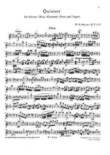 Квинтет для духовых и фортепиано ми-бемоль мажор, K.452: Партии by Вольфганг Амадей Моцарт