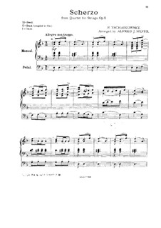 Струнный квартет No.1 ре мажор, TH 111 Op.11: Часть III, для органа by Петр Чайковский