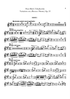 Вариации на тему рококо, TH 57 Op.33: Партии гобоев by Петр Чайковский