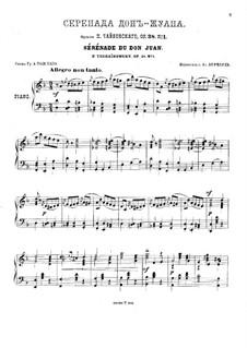 Шесть романсов, TH 101 Op.38: No.1 Серенада Дон-Жуана (для фортепиано) by Петр Чайковский