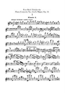 Концерт для фортепиано с оркестром No.2 соль мажор, TH 60 Op.44: Партии флейт by Петр Чайковский