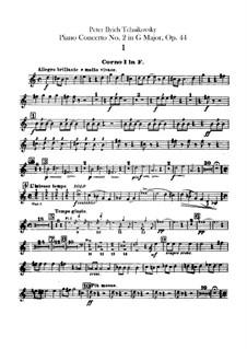 Концерт для фортепиано с оркестром No.2 соль мажор, TH 60 Op.44: Партии валторн by Петр Чайковский