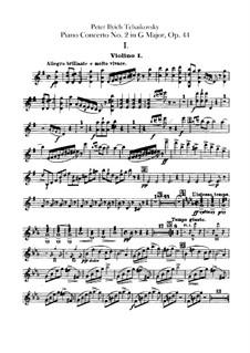 Концерт для фортепиано с оркестром No.2 соль мажор, TH 60 Op.44: Партия первых скрипок by Петр Чайковский